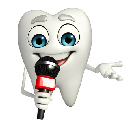 Cartoon character of teeth with mike