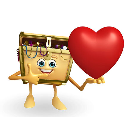 thesaurus: Cartoon Character of Treasure box with red heart