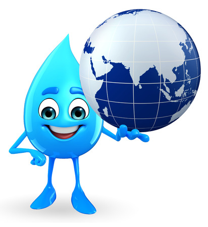 Cartoon Character Of Water Drop with globe