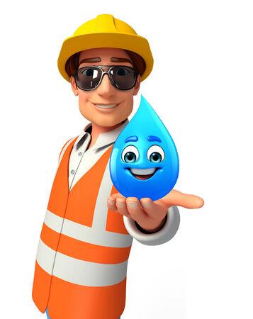 llave de sol: Ilustración del trabajador joven con gota de agua