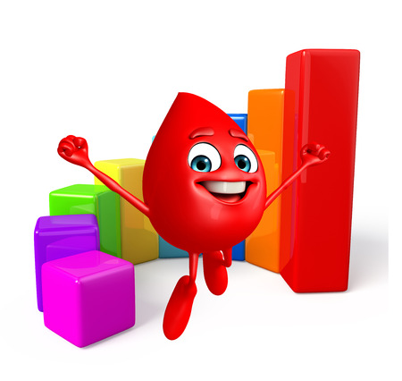 achivement: Cartoon Character of Blood Drop with business graph