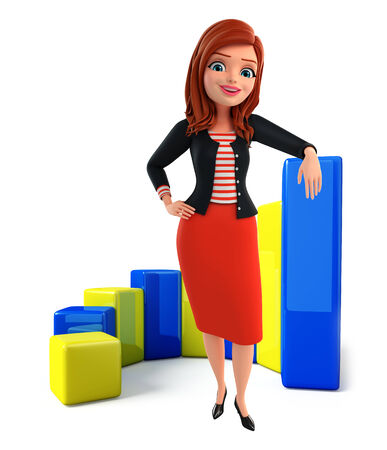 achivement: Illustration of corporate lady with business graph