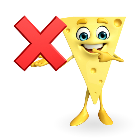 Cartoon Character of Cheese with cross sign photo