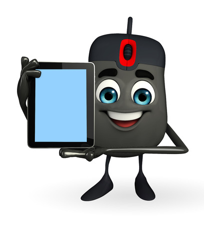 input device: Cartoon Character of Computer Mouse with tab