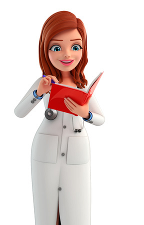 writting: Illustration of Young Doctor is reading a book Stock Photo