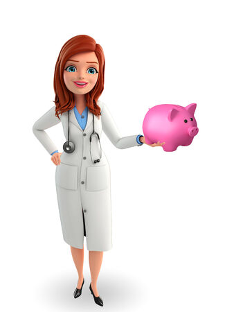 deposite: Illustration of Young Doctor with piggy bank