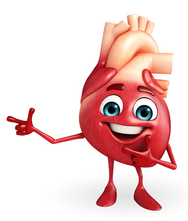 indicative: Cartoon character of heart with pointing pose