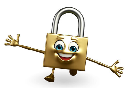 gladness: Cartoon Character of lock with happy pose