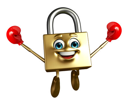 key punching: Cartoon Character of lock with Boxing Gloves