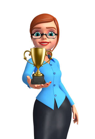 achivement: Illustration of young office girl with trophy