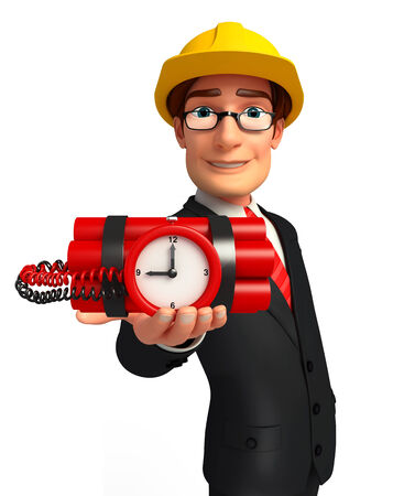 human time bomb: Illustration of Young Business Man with bomb