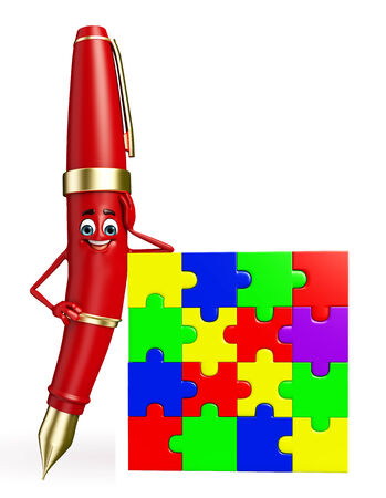 Cartoon chatacter van Pen met puzzel
