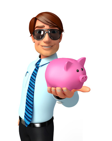 welcoming: Illustration of service man with piggy bank