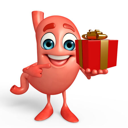 alimentary: Cartoon Character of stomach with gift box Stock Photo