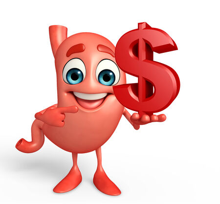 Cartoon Character of stomach with dollar sign Stock Photo