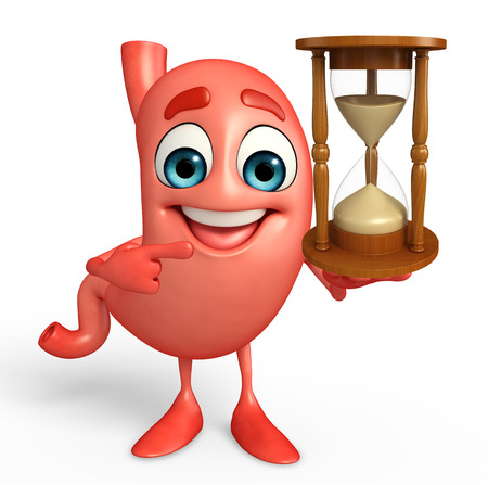 Cartoon Character of stomach with sand clock Stock Photo