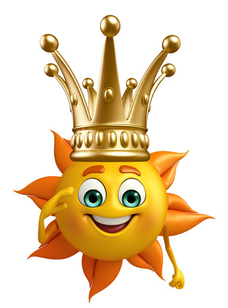 Cartoon Character of sun with crown