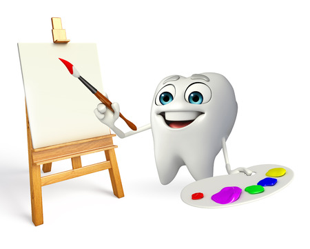 Cartoon character of teeth with Color plate photo