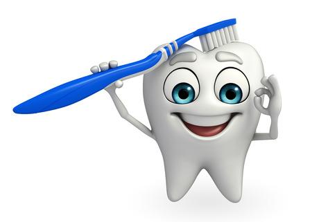Cartoon karakter van tanden met tandenborstel Stockfoto