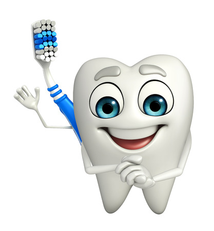 Cartoon Character of toothbrush is happy photo