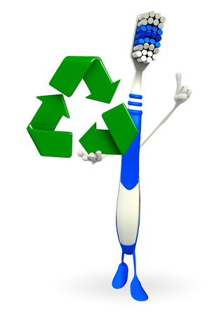Cartoon Character of toothbrush with recycle icon photo