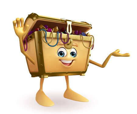 thesaurus: Cartoon Character of Treasure box with hello sign Stock Photo