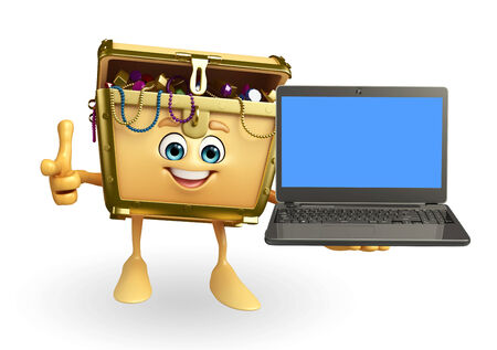 thesaurus: Cartoon Character of Treasure box with laptop