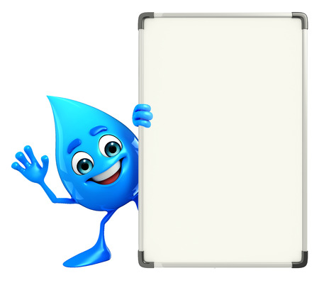 Cartoon Character Of Water Drop with display board Stock Photo