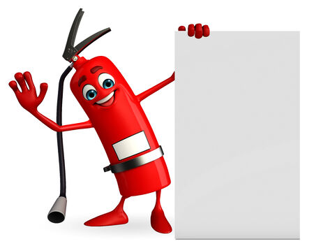 the precaution: Cartoon Character of fire extinguisher with sign