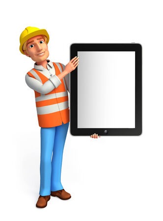 Illustration of young worker with tab illustration