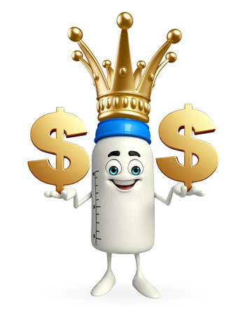 teat: Cartoon Character of baby bottle with dollar sign Stock Photo