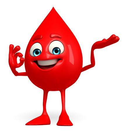 Cartoon Character of Blood Drop with best sign