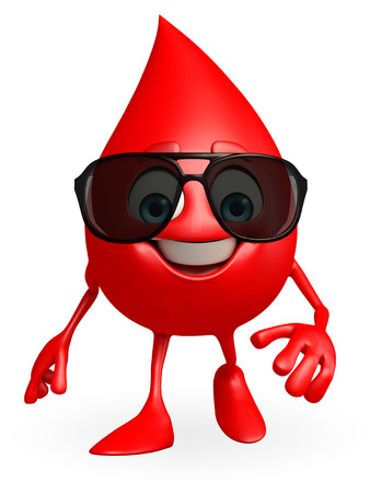 Cartoon Character of Blood Drop with goggle