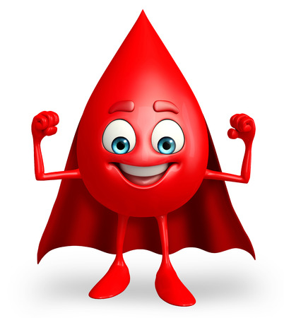 heros: Cartoon Character of super Blood Drop Stock Photo