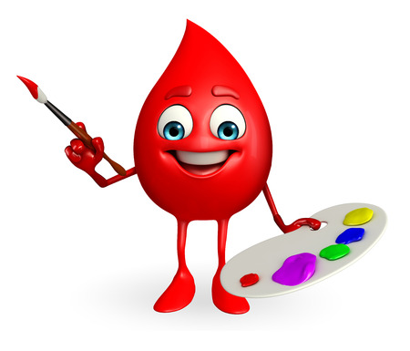 Cartoon Character of Blood Drop with color plate