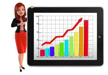 writting: Illustration of corporate lady with business graph