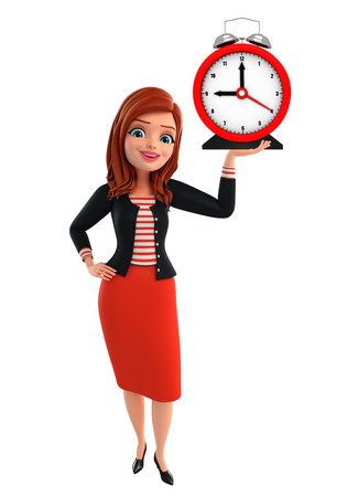 lady clock: Illustration of corporate lady with table clock Stock Photo