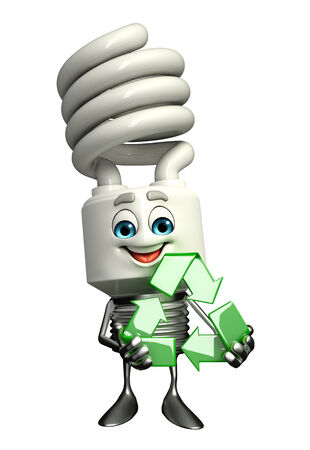 fuze: Cartoon Character of CFL with recycle icon