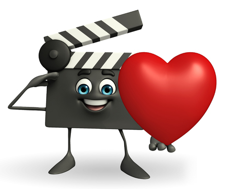 Cartoon Character of Clapper Board with heart photo