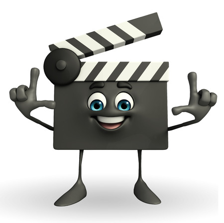 board of director: Cartoon Character of Clapper Board with director pose