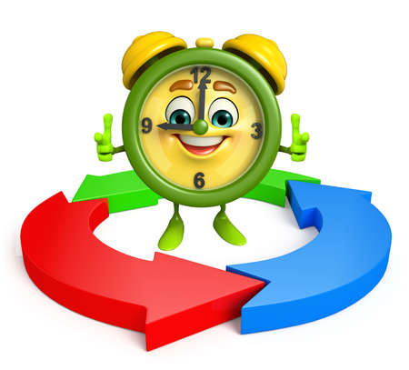 Cartoon Character of table clock with arrow photo