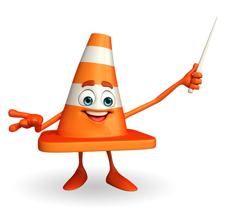 road works ahead: Cartoon Character of Construction cone with stick Stock Photo