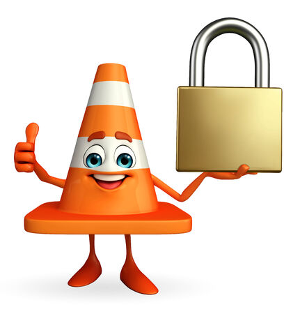 road works ahead: Cartoon Character of Construction cone with lock Stock Photo