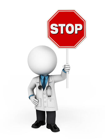 sterile: Illustration of young doctor with stop sign