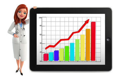 achivement: Illustration of Young Doctor with business graph