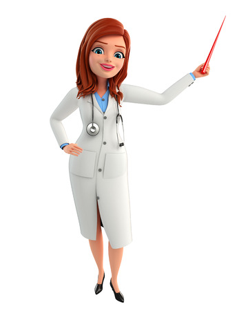 doctor examine: Illustration of Young Doctor with stick Stock Photo