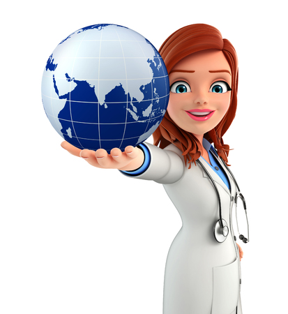 Illustration of Young Doctor with globe