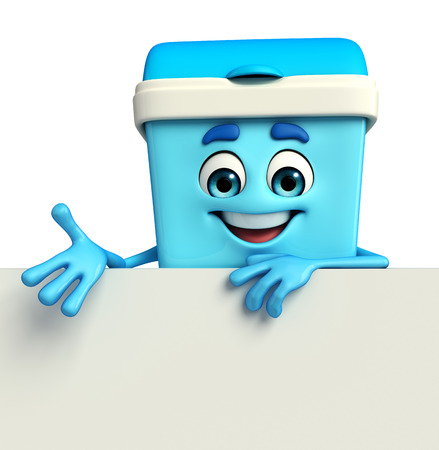 keep clean: Cartoon Character of Dustbin with sign