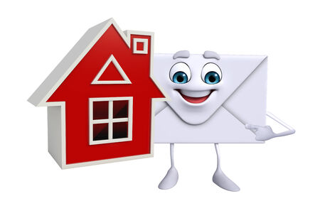 post office building: Cartoon Character of mail with home Stock Photo