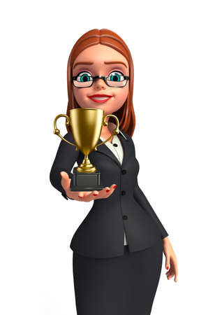 achivement: Illustration of Young Business Woman with trophy